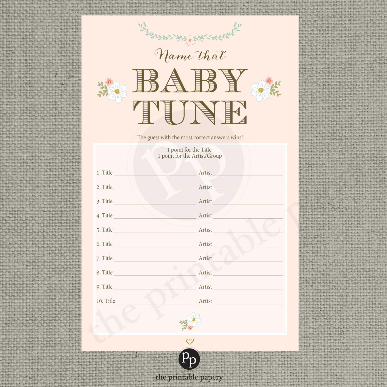 Printable Name That Baby Tune Baby Shower Game | Baby Shower In 2019 - Name That Tune Baby Shower Game Free Printable