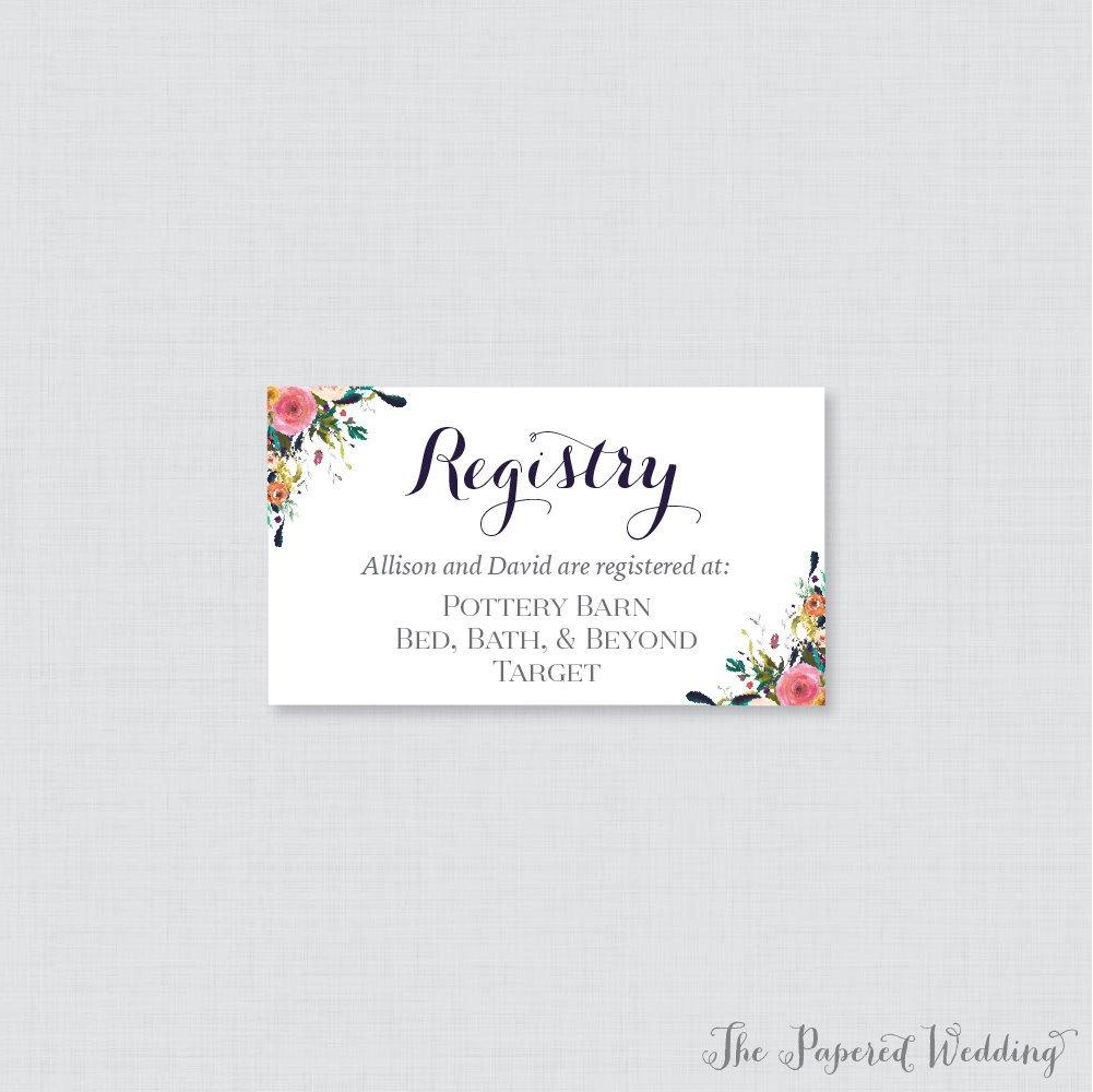 Printable Or Printed Wedding Registry Cards Floral Wedding | Etsy - Free Printable Registry Cards