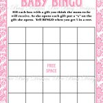 Printable Pink Damask Baby Shower Bingo Game | Bee Busy Designs   Baby Bingo Free Printable Template