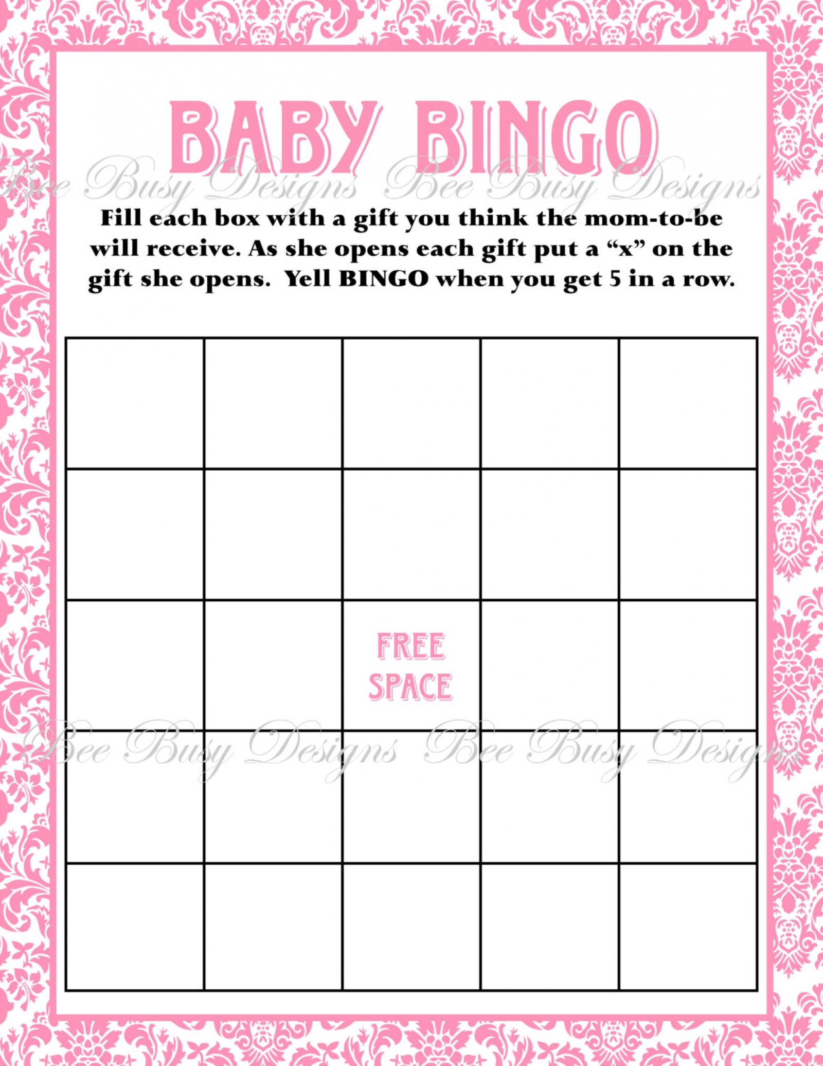 Printable Pink Damask Baby Shower Bingo Game Instant Download | Bee - Free Printable Baby Shower Bingo Cards