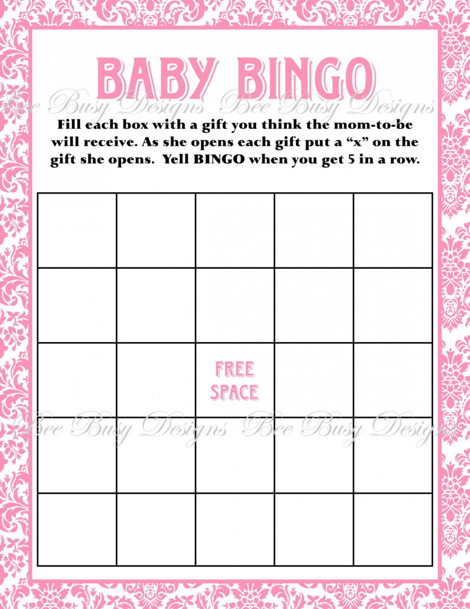 Printable Pink Damask Baby Shower Bingo Game Instant Download   Bee - Printable Baby Shower Bingo Games Free