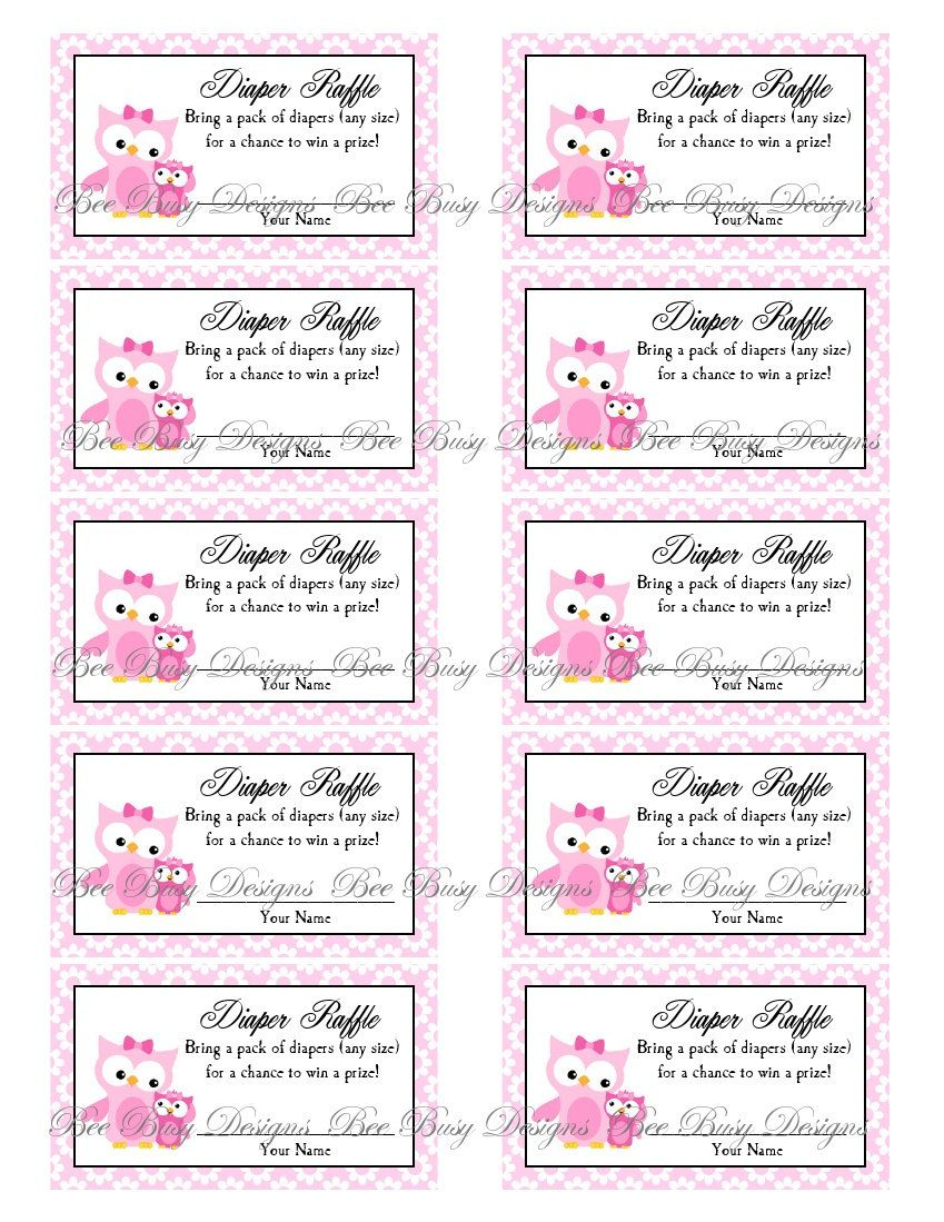 Printable Pink Mom With Little Girl Owl Diaper Raffle Tickets | Free - Diaper Raffle Template Free Printable