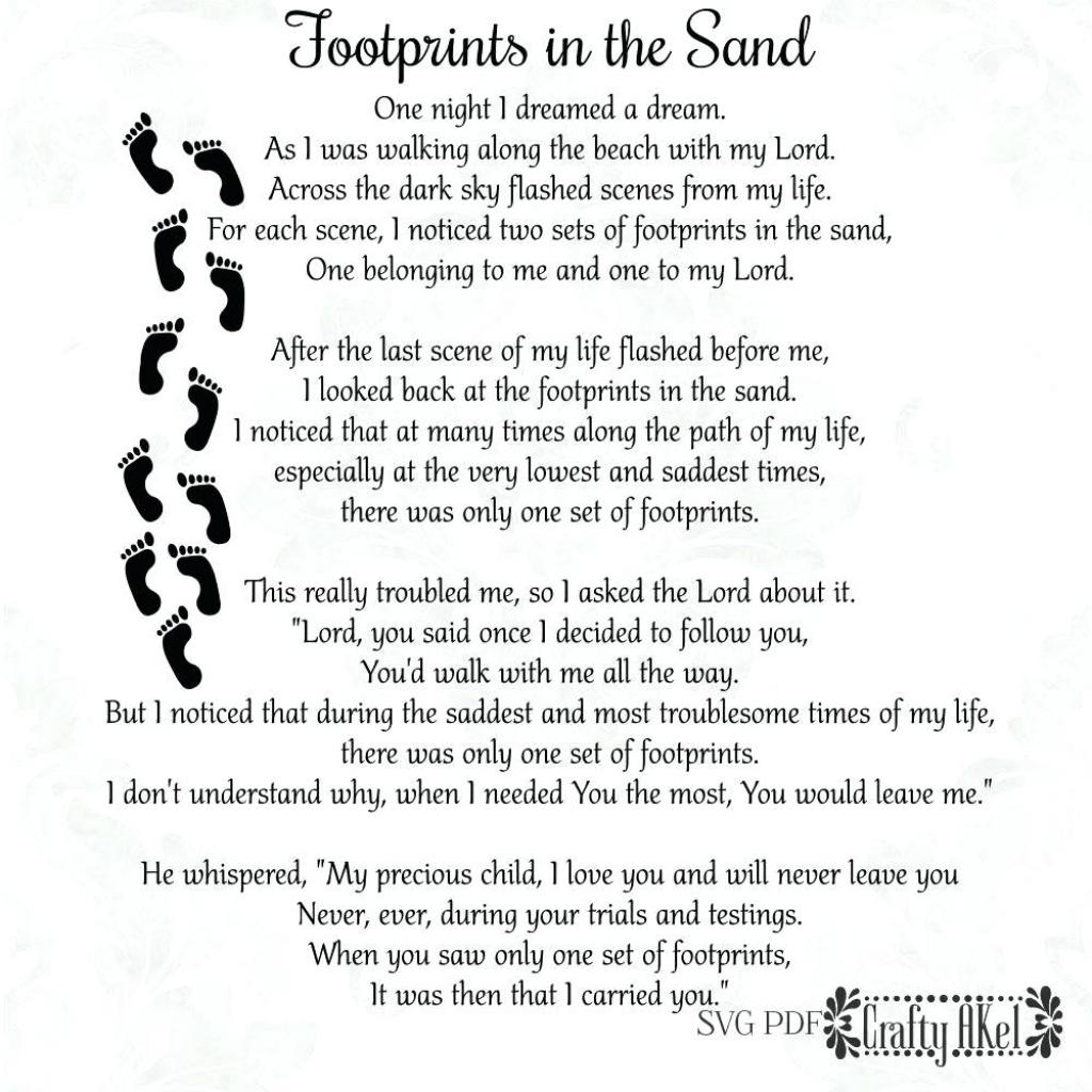Printable: Printable Footprints In The Sand Poem Files Vector Inside - Footprints In The Sand Printable Free