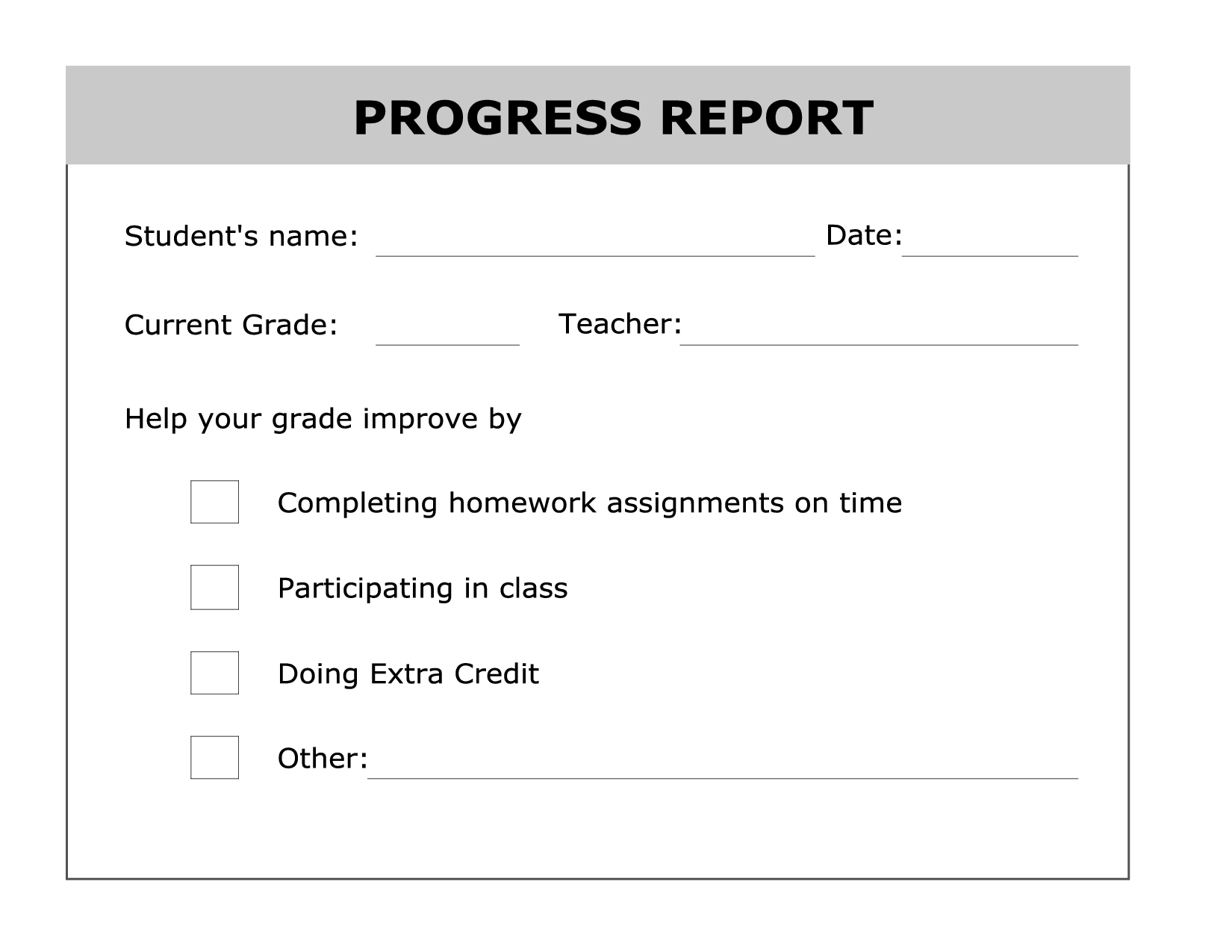 Printable Progress Report Template | Good Ideas | Pinterest - Free Printable Grade Cards
