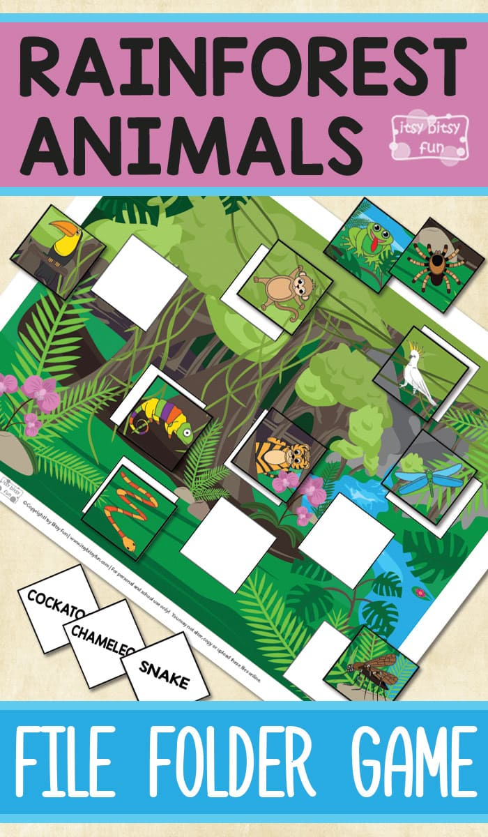 Printable Rainforest Animals File Folder Game - Itsy Bitsy Fun - Free Printable Preschool Folder Games