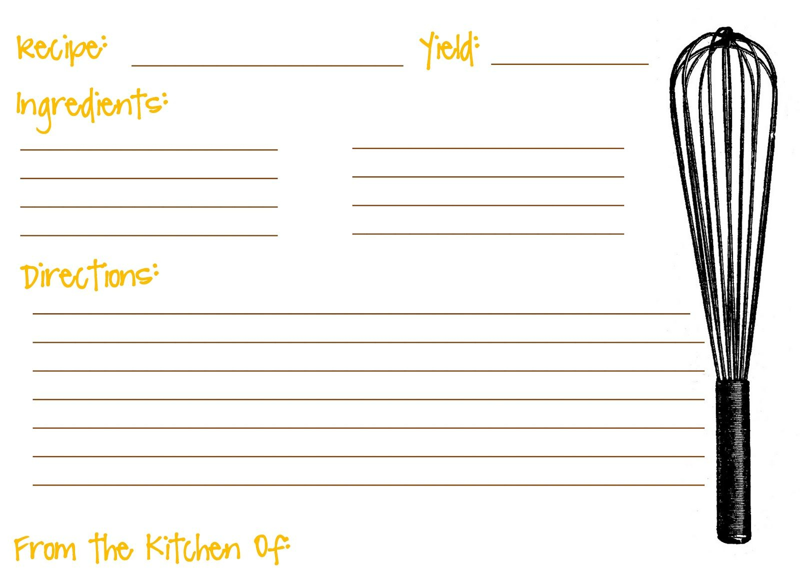 Printable Recipe Cards For Kids Recipe Template For Kids | Recipe - Free Printable Recipe Templates