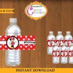 Printable Red Minnie Mouse Water Bottle Labels Instant | Etsy   Free Printable Cars Water Bottle Labels
