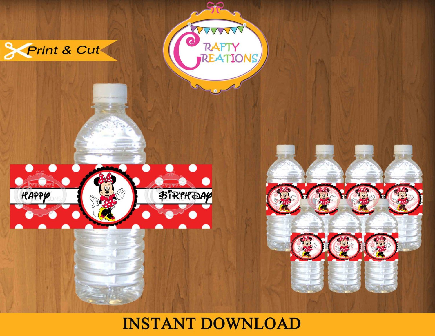 Printable Red Minnie Mouse Water Bottle Labels Instant | Etsy - Free Printable Cars Water Bottle Labels