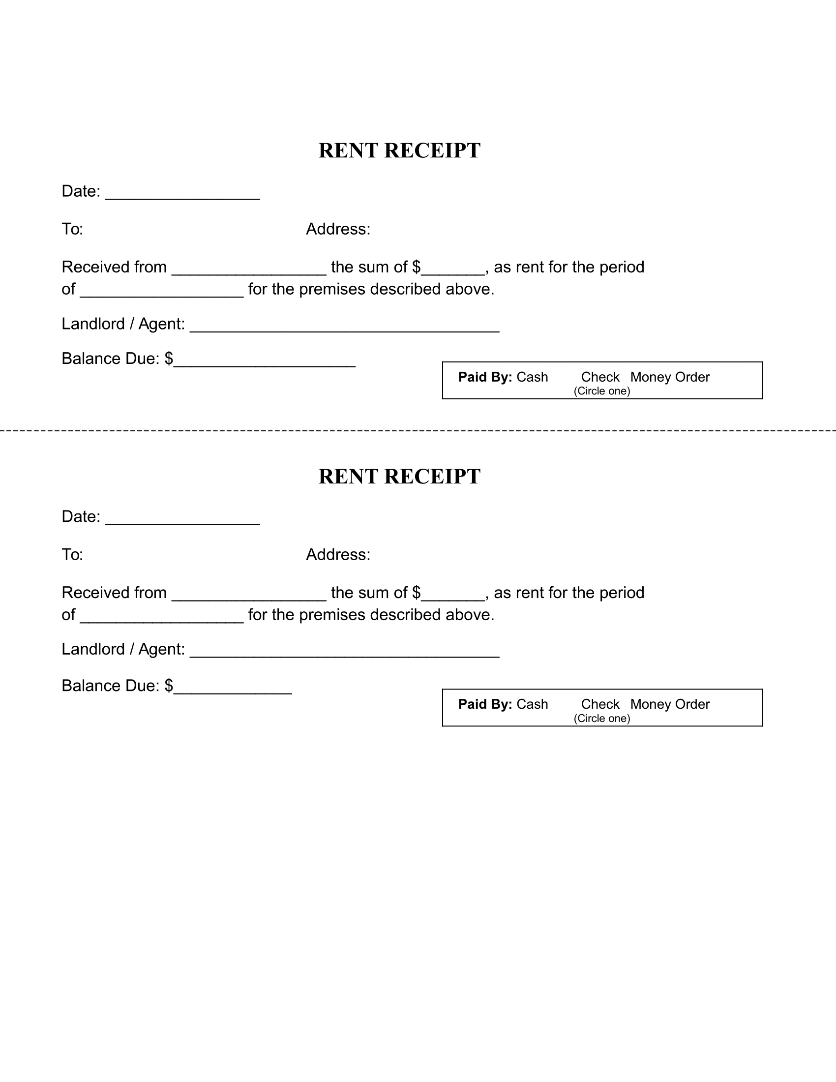 Printable Rent Receipt Template - Free Download - Free Printable Rent Receipt
