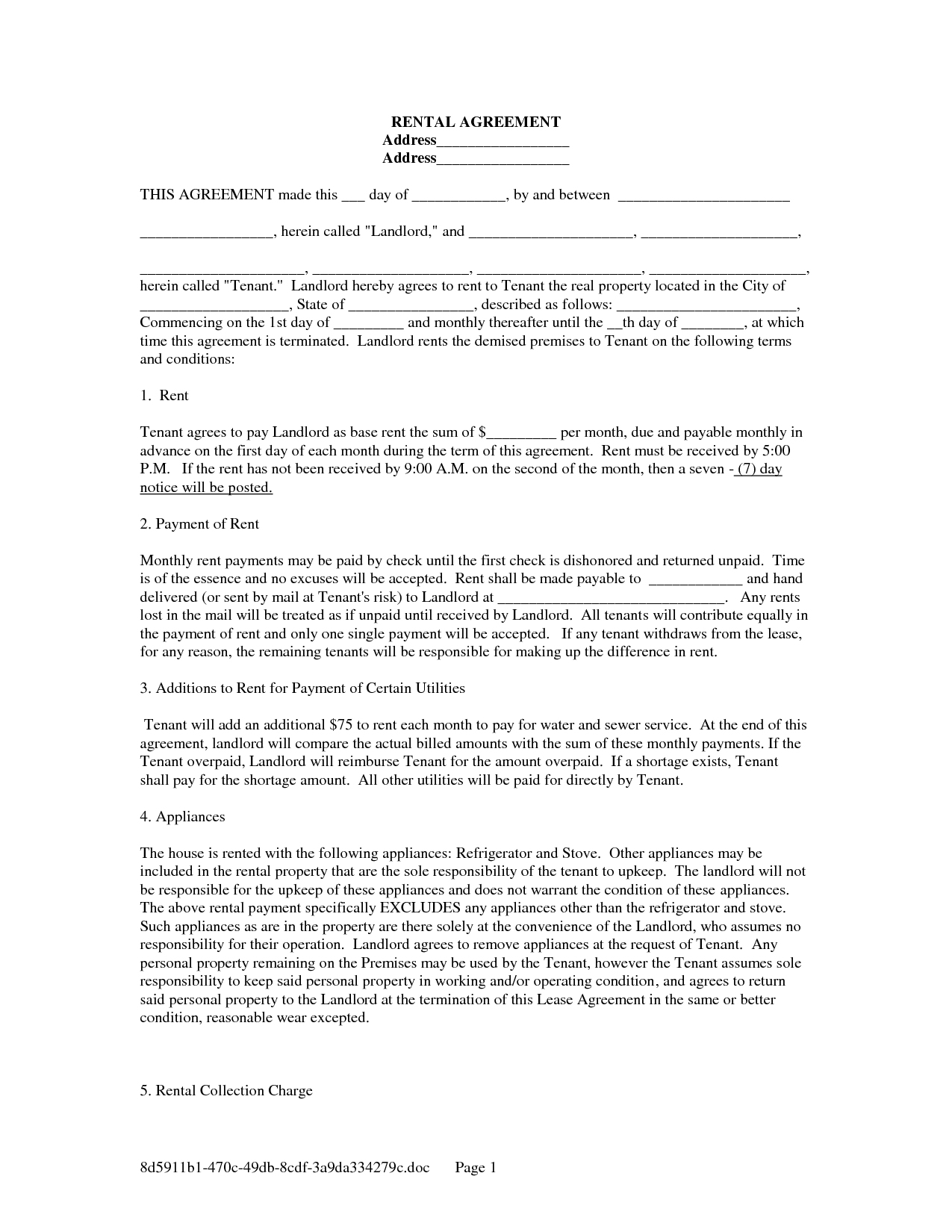 Printable Rental Lease Agreement Form For Free   Shop Fresh - Rental Agreement Forms Free Printable
