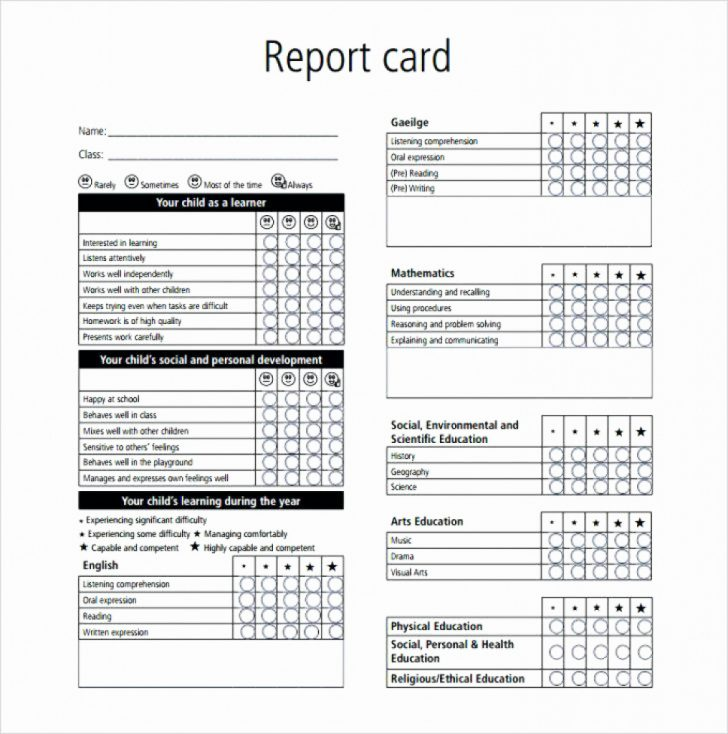 Free Printable Preschool Report Cards