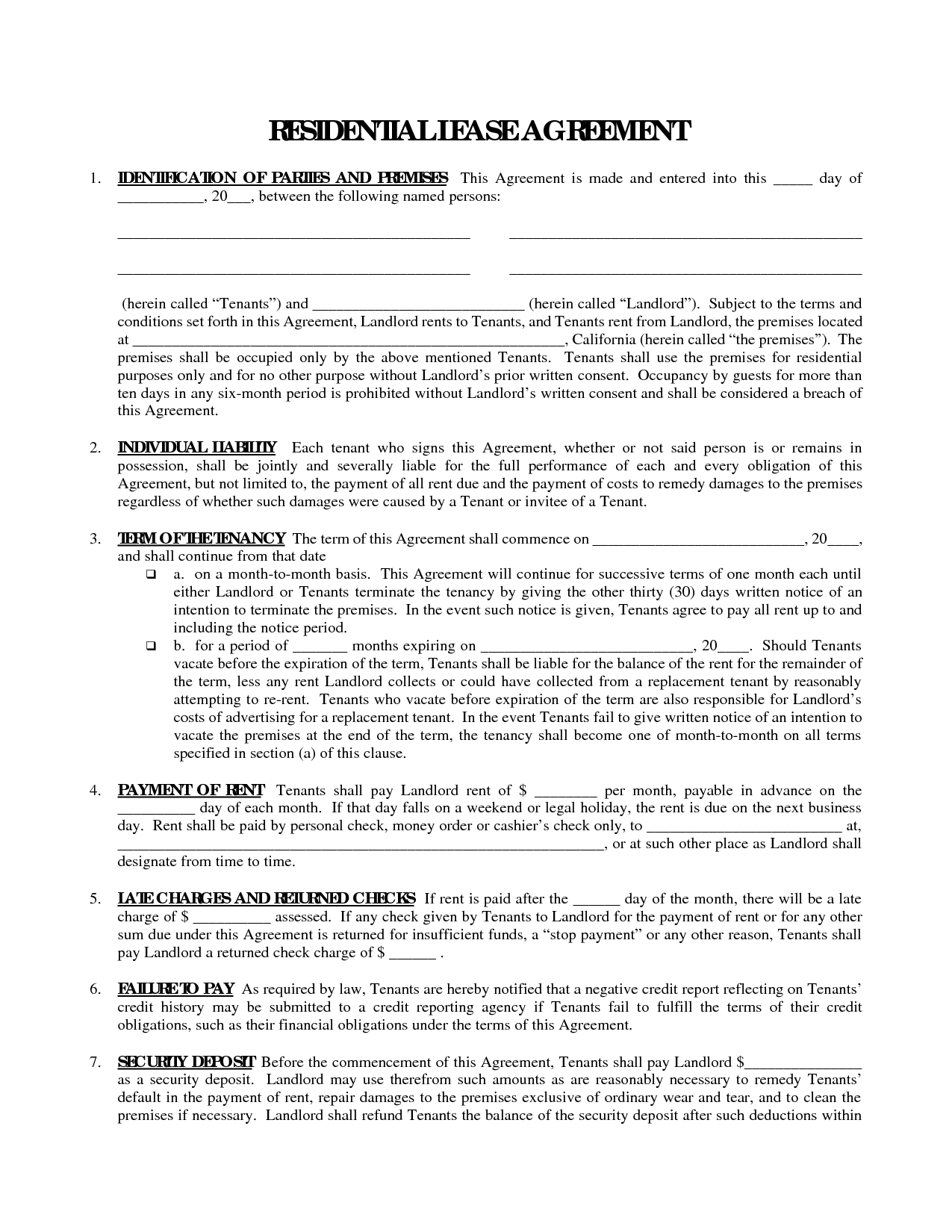 Printable Residential Free House Lease Agreement | Residential Lease - Free Printable Lease Agreement Ny
