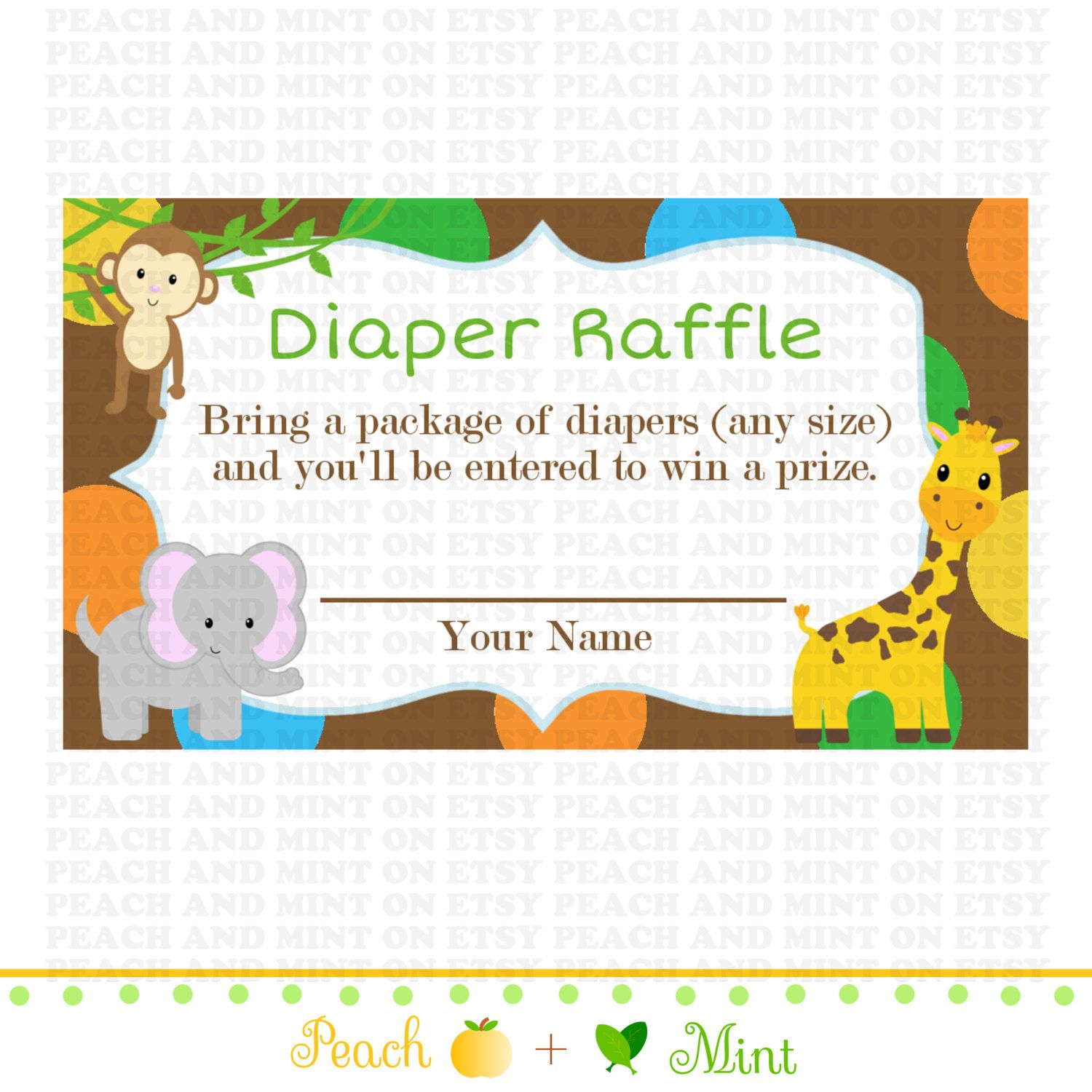 Printable Safari Or Jungle Baby Shower Diaperpeachandmint, $2.99 - Free Printable Baby Shower Diaper Raffle Tickets