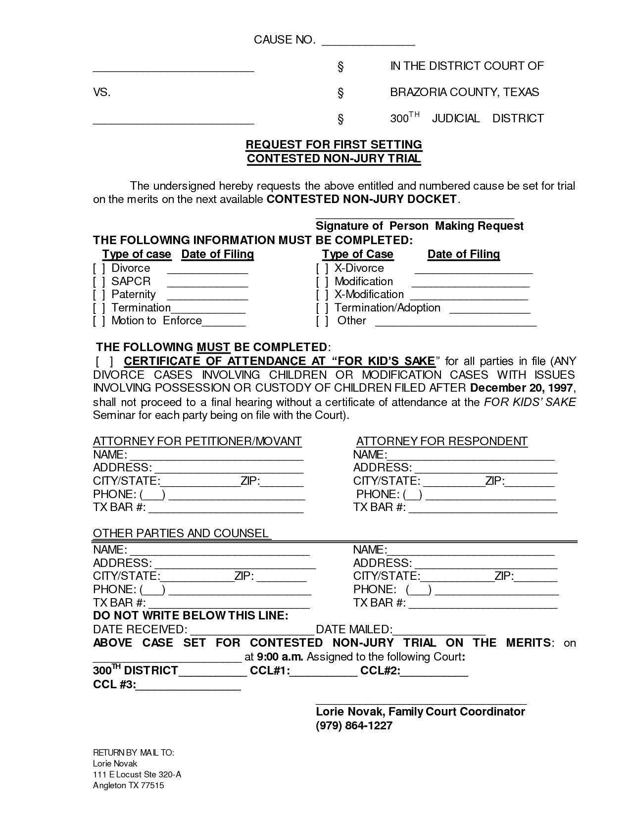 Printable Sample Divorce Documents Form | Laywers Template Forms - Free Printable Legal Documents Forms