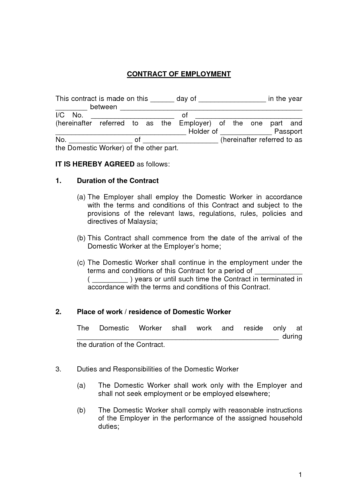 Printable Sample Employment Contract Sample Form #3755500607 – Free - Free Printable Employment Contracts