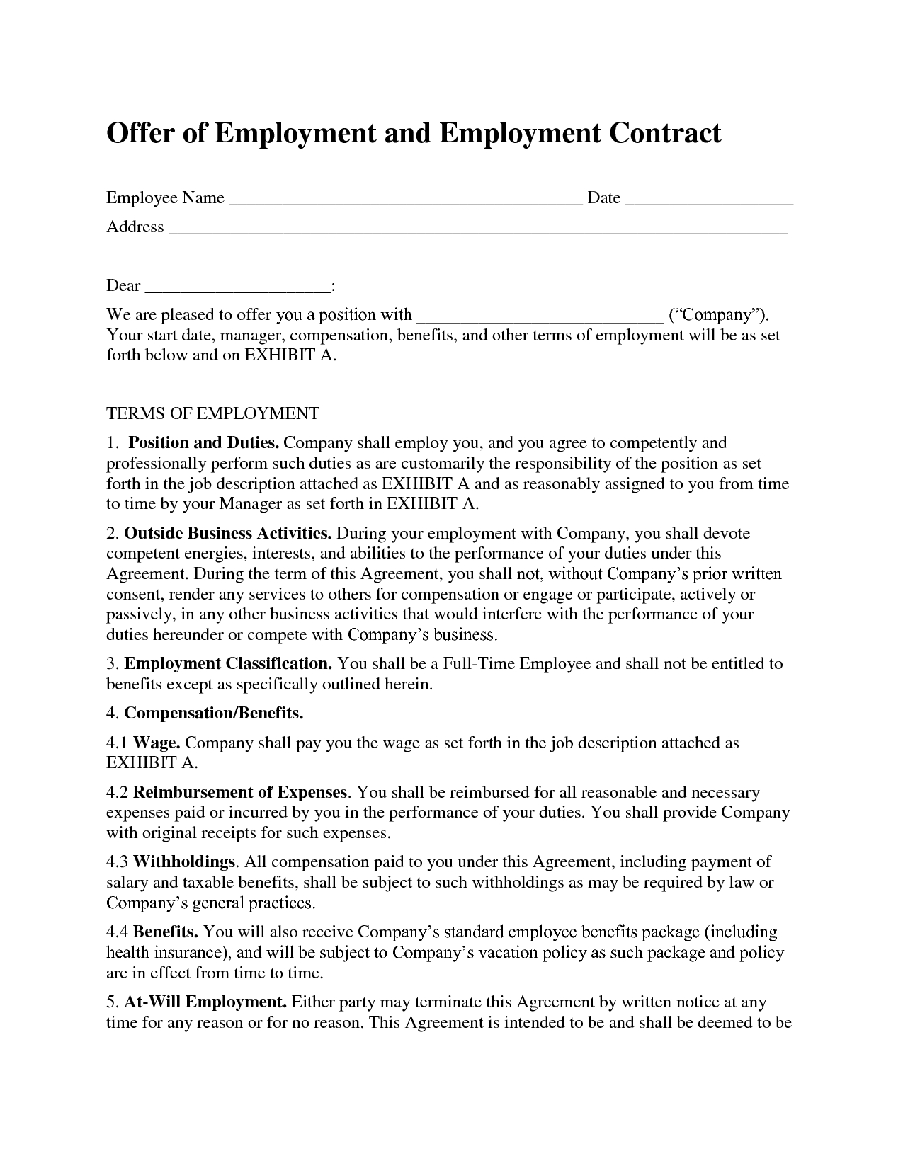 Printable Sample Employment Contract Sample Form | Attorney Legal - Free Printable Employment Contracts