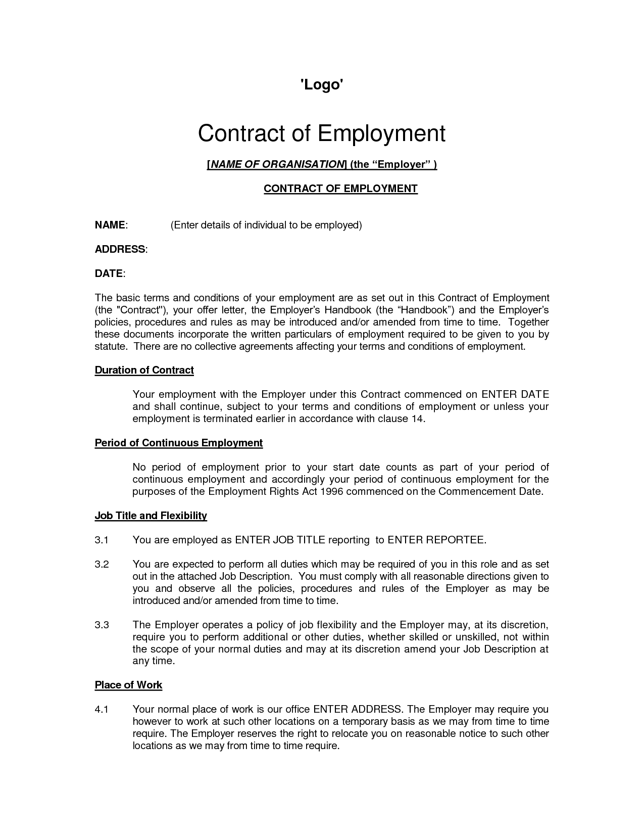 Printable Sample Employment Contract Sample Form | Laywers Template - Free Printable Employment Contracts