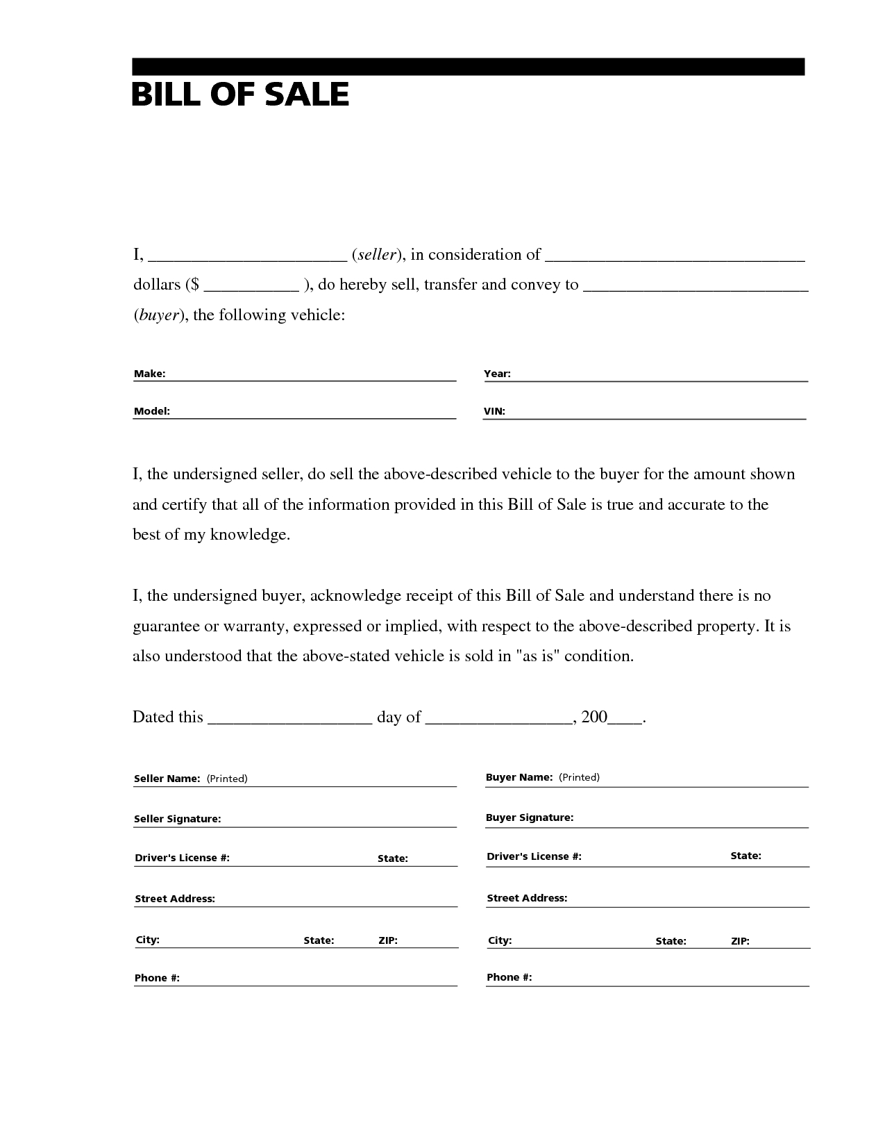 Printable Sample Free Car Bill Of Sale Template Form | Laywers - Free Printable Legal Documents Forms