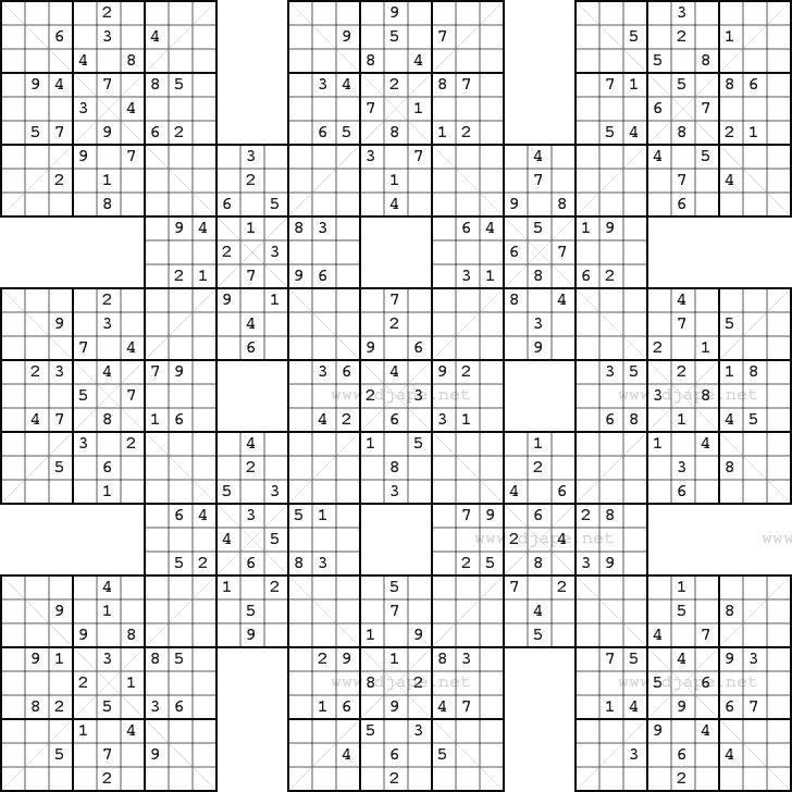 Free Printable Samurai Sudoku
