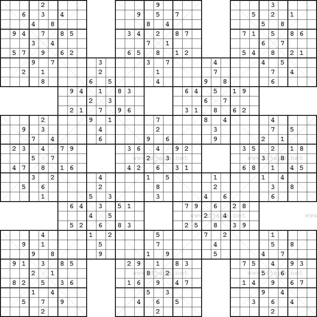 Printable Samurai Sudoku - Free Printable Samurai Sudoku