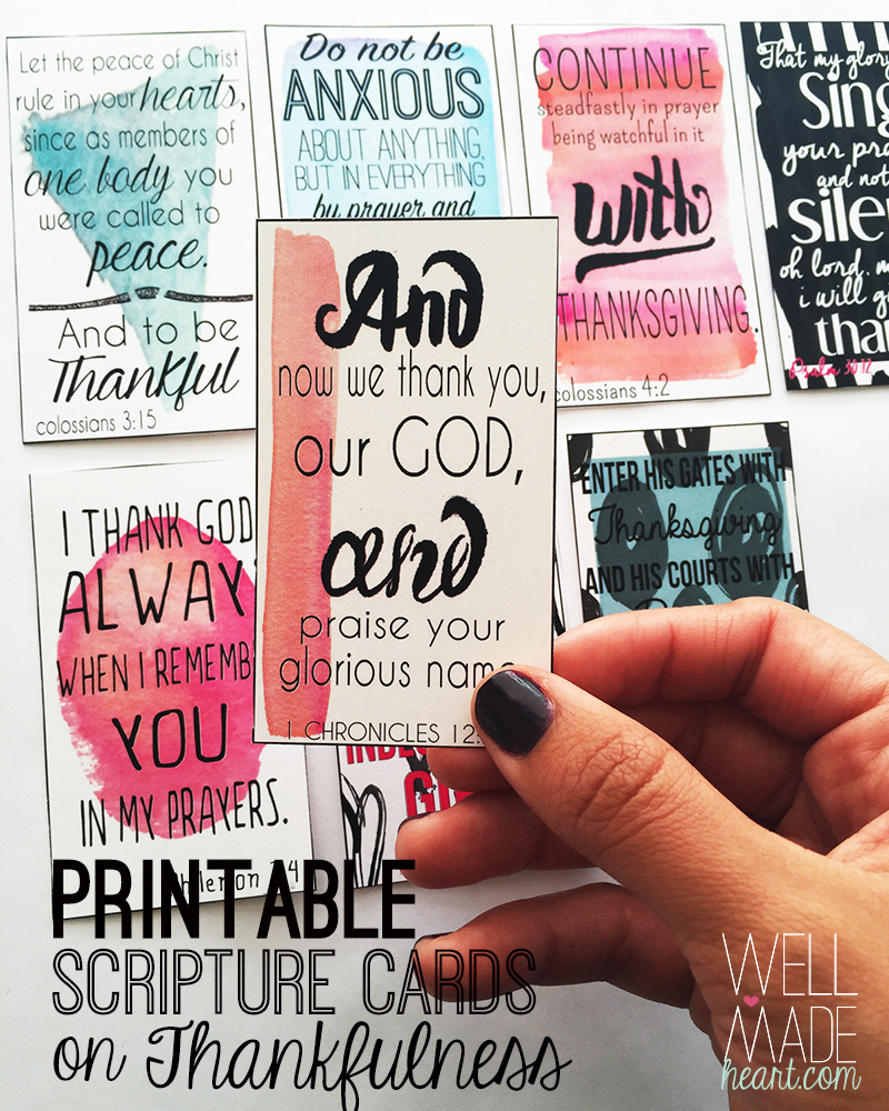 Printable Scripture Cards On Thankfulness - Well-Made Heart - Free Printable Scripture Cards