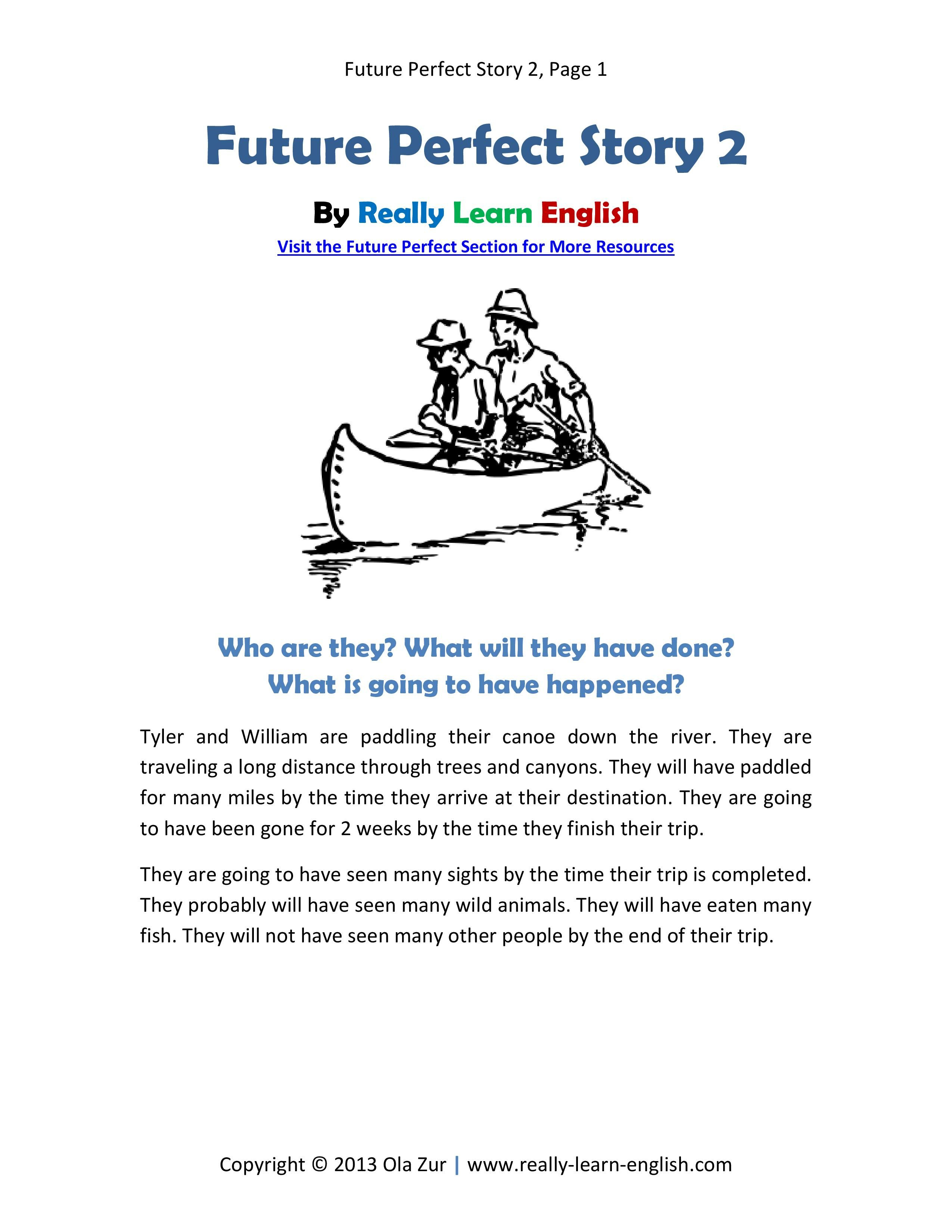 Printable Short Story And Worksheets To Practice The English Future - Free Printable Short Stories For Grade 3