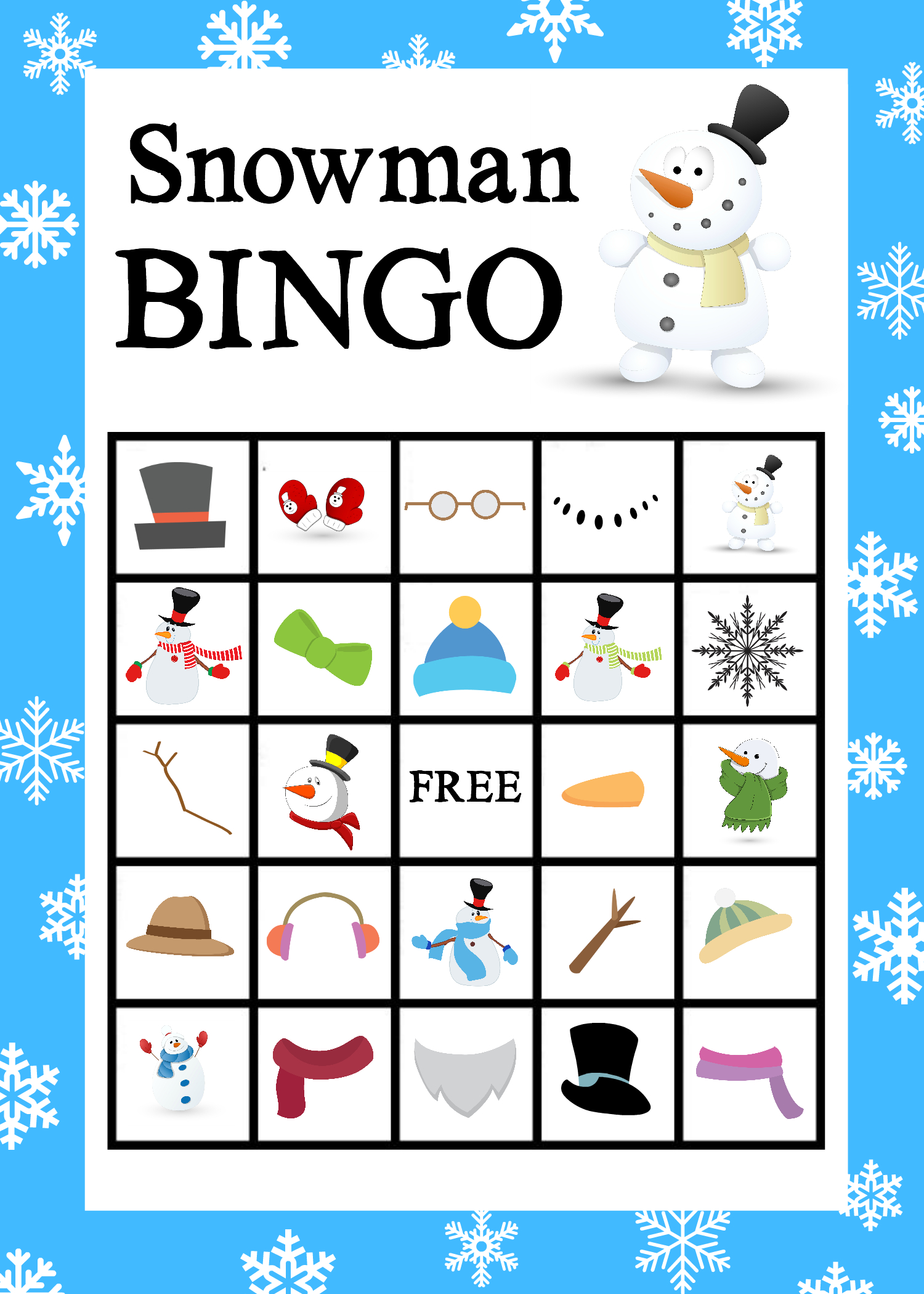 Printable Snowman Bingo Game - Crazy Little Projects - Free Printable Bingo Games