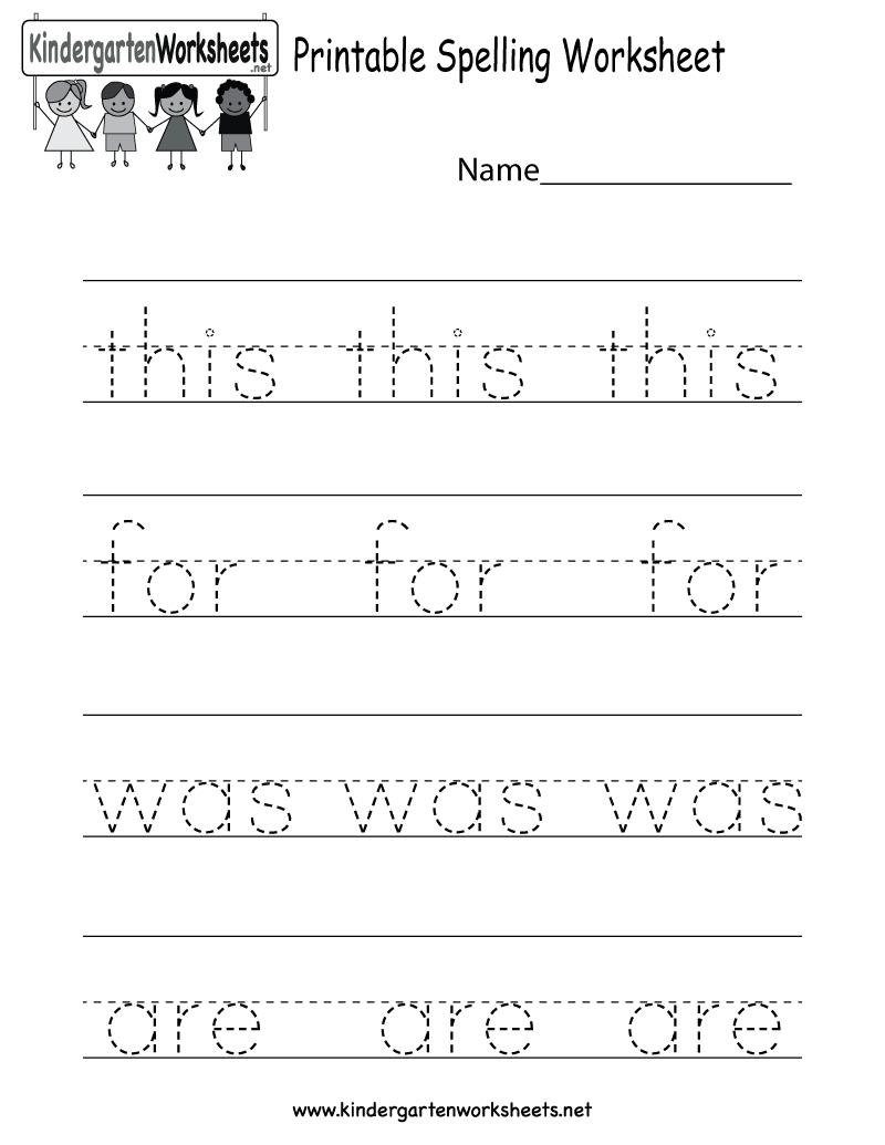 Printable Spelling Worksheet - Free Kindergarten English Worksheet - Free Printable Homework
