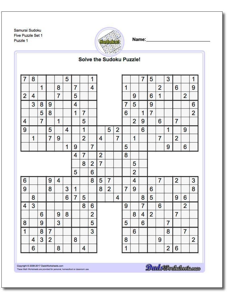 Printable Sudoku Puzzle Samurai Five Puzzle Set 1! Printable Sudoku - Free Printable Sudoku