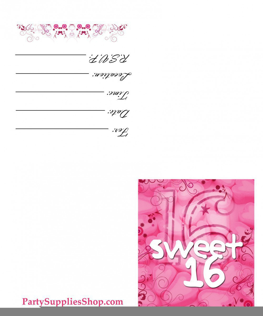 Printable Sweet 16 Birthday Invitations — Birthday Invitation Examples - Free Printable Sweet 16 Birthday Party Invitations