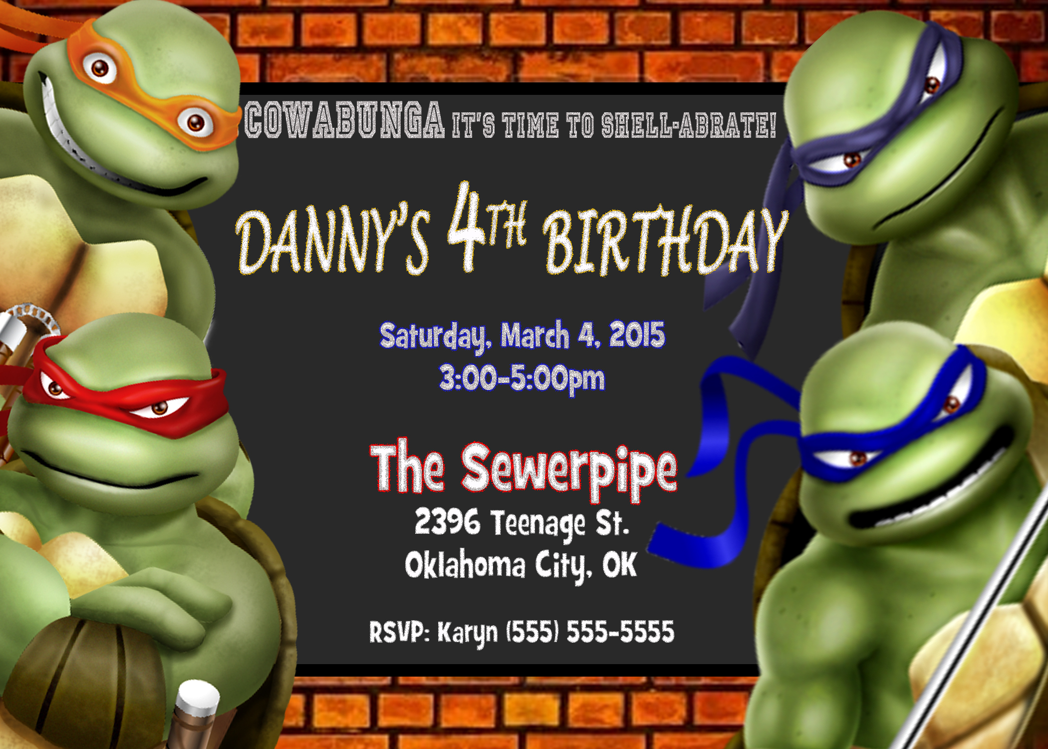 Printable Teenage Mutant Ninja Turtles Birthday Invitations - Free Printable Ninja Turtle Birthday Invitations