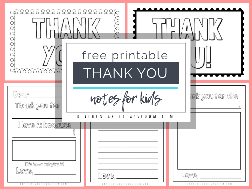 Printable Thank You Cards For Kids - The Kitchen Table Classroom - Free Printable Thank You Cards