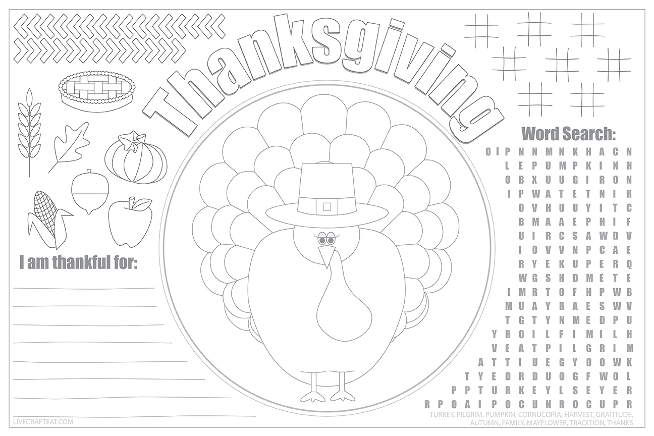Printable Thanksgiving Placemats For Kids - Free | Live Craft Eat - Free Printable Thanksgiving Coloring Placemats