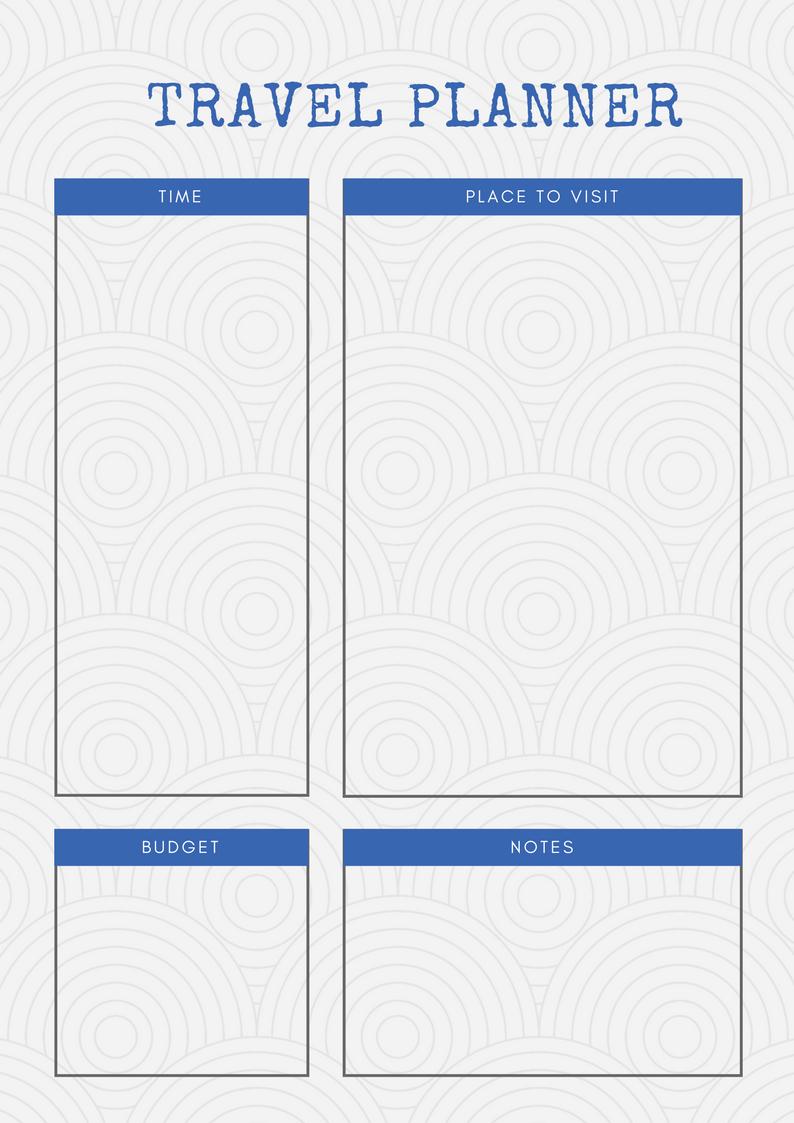Printable Travel Planners | Carrentalia - Free Printable Trip Planner