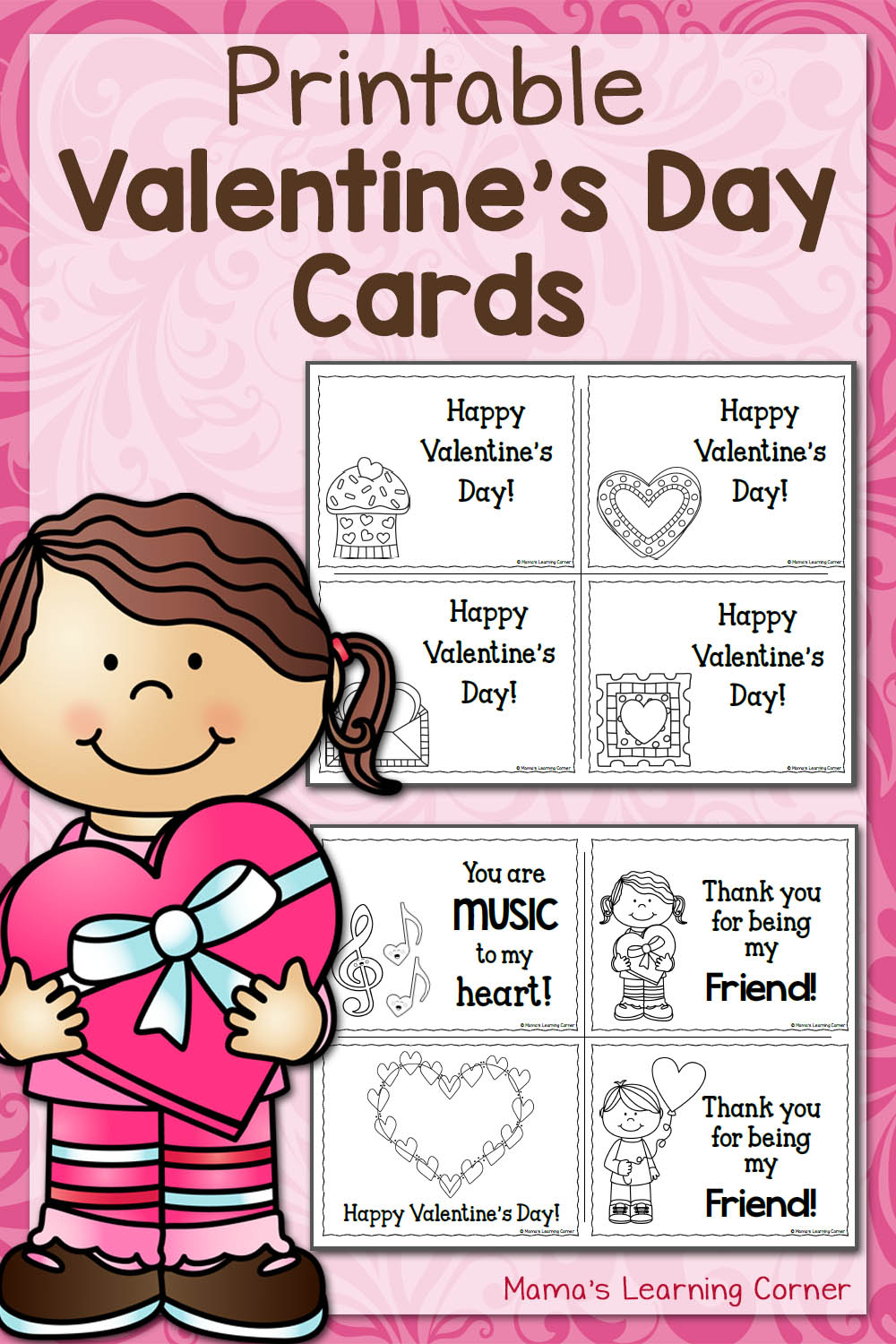 Printable Valentine's Day Cards - Mamas Learning Corner - Free Printable Valentines Day Cards For Kids