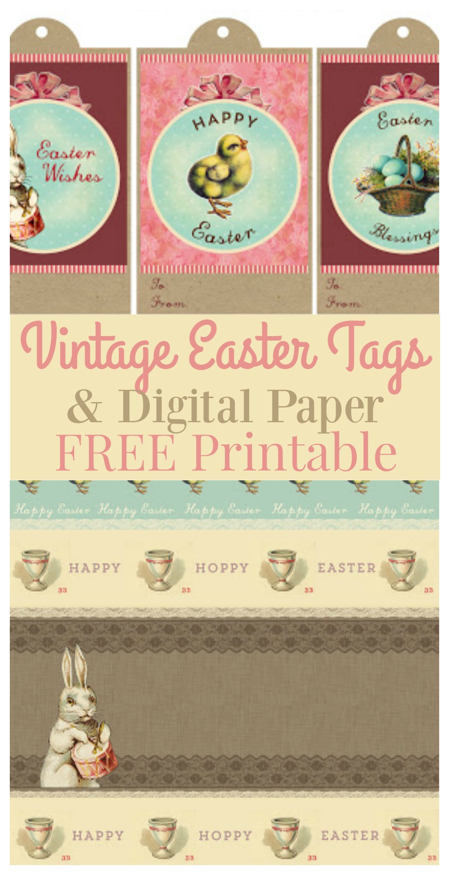 Printable Vintage Easter Gift Tags & Digital Paper - The Graphics Fairy - Free Printable Vintage Easter Images