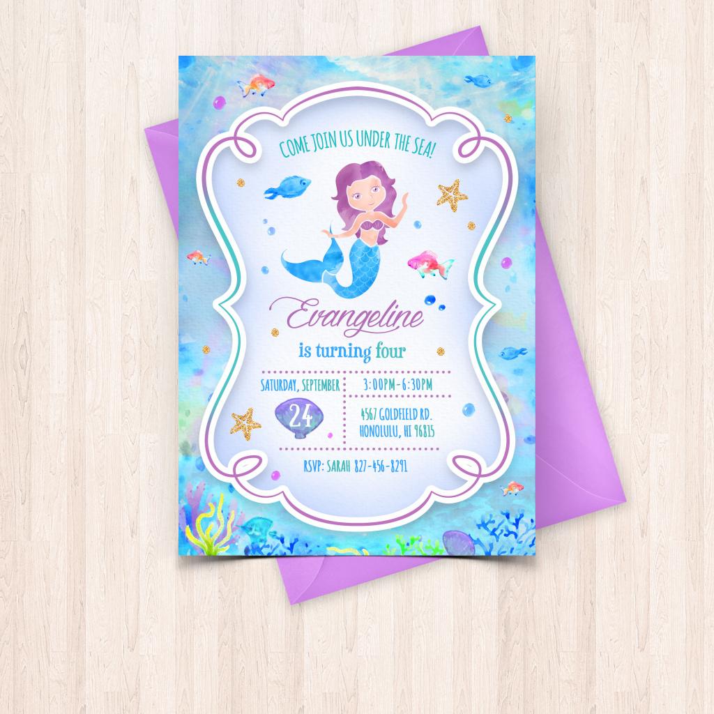 Printable Watercolor Mermaid Birthday Invitations Free Thank You - Free Printable Mermaid Thank You Cards