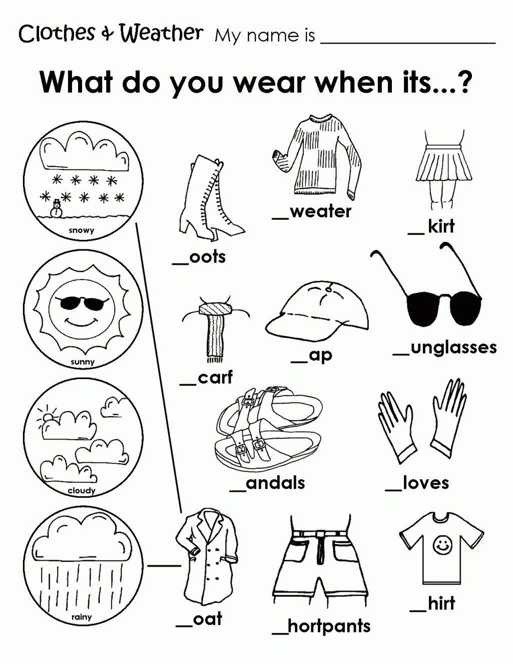 Printable Weather Clothes Worksheet | Memory Care Activities - Free Printable Seasons Worksheets For Kindergarten
