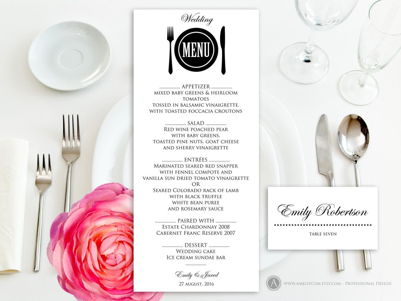 Printable Wedding Menu Free Place Card Template Instant Download | Etsy - Free Printable Wedding Menu Card Templates