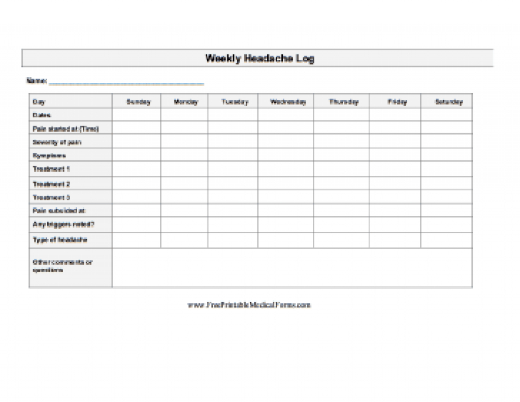 Printable Weekly Headache Log With Free Printable Headache Diary - Free Printable Headache Diary