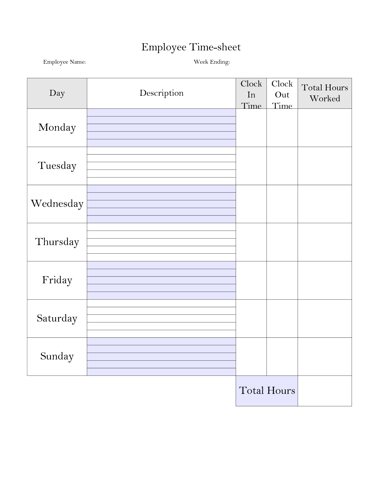 Printable Weekly Time Sheet | Printable Timecard | Teaching <3 - Free Printable Time Tracking Sheets