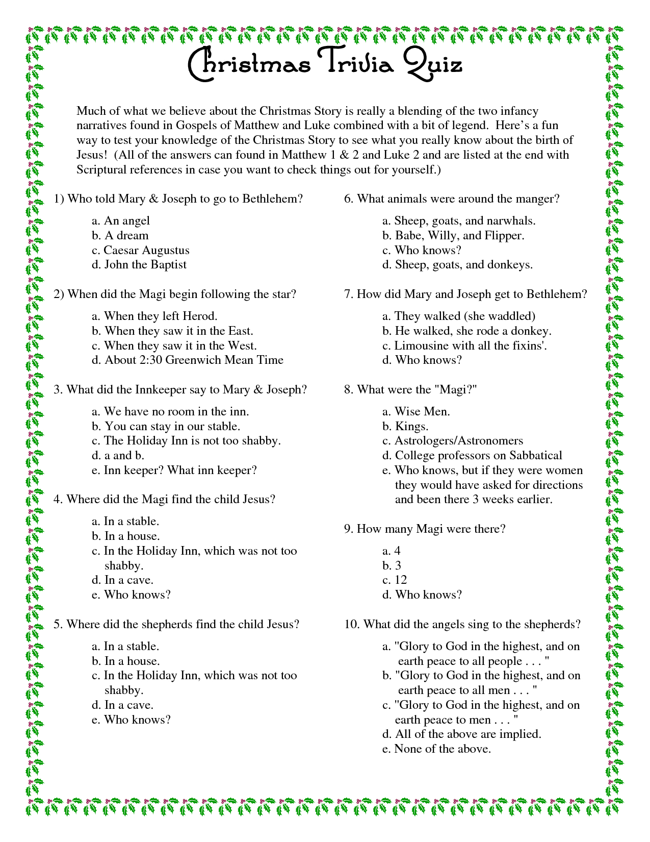 Printable+Christmas+Trivia+Questions+And+Answers | Christmas - Free Printable Trivia Questions And Answers