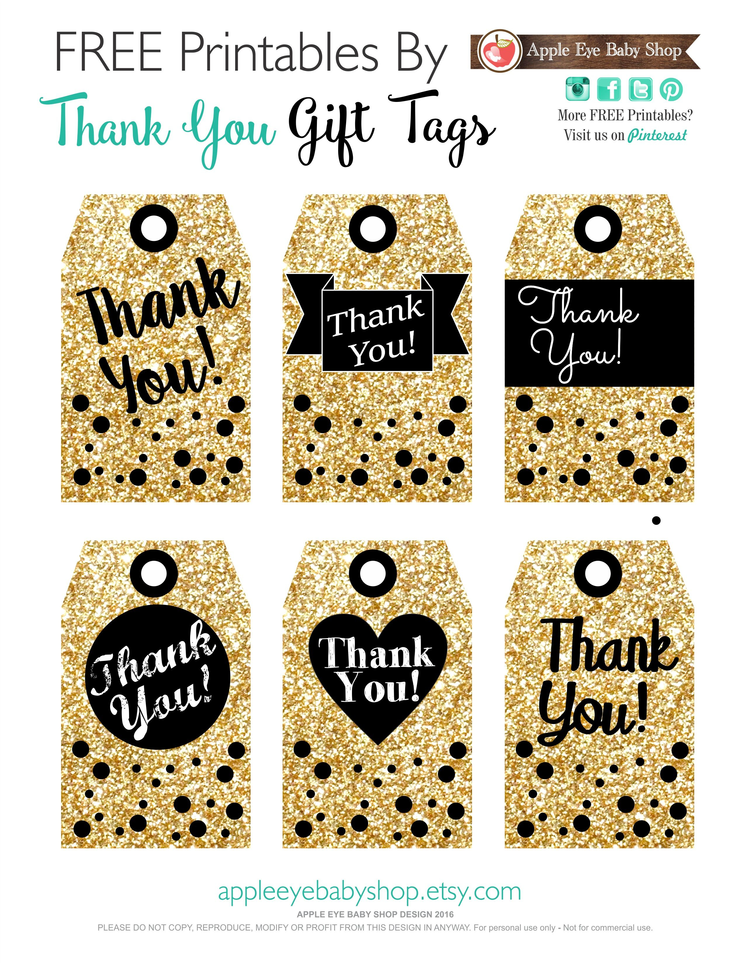 Printables Gift Tags Gold Glitter & Black | I ♥ Packaging + Wrap - Free Printable Thank You Tags For Birthdays
