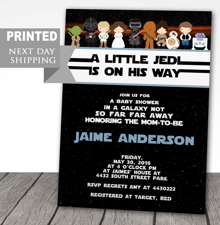 Printed Star Wars Baby Shower Invitations Starwars Baby | Etsy - Free Printable Star Wars Baby Shower Invites