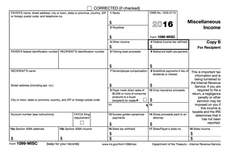 Free Printable 1099 Misc Form 2013