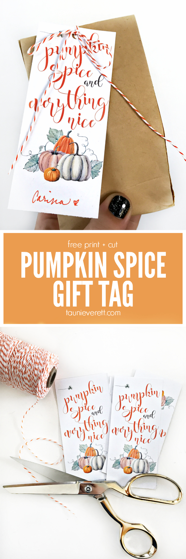 Pumpkin Spice And Everything Nice Gift Tag | Print - Turkey Day - Free Printable Pumpkin Gift Tags