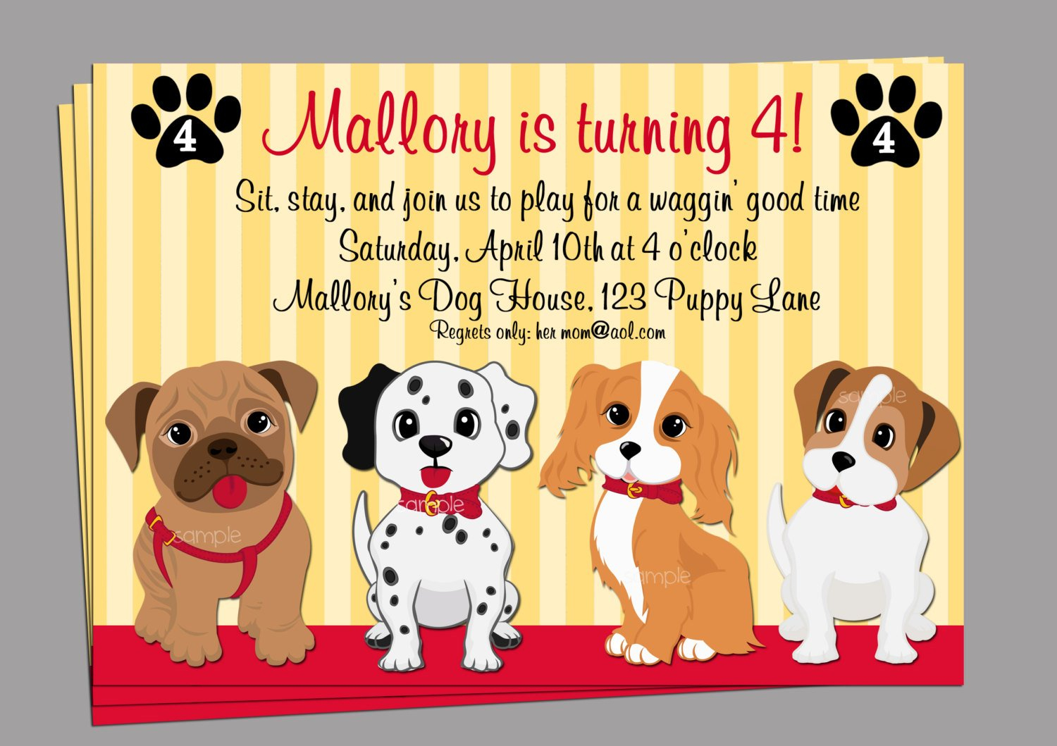 Puppy Dog Invitation Printable Or Printed With Free Shipping | Etsy - Dog Birthday Invitations Free Printable