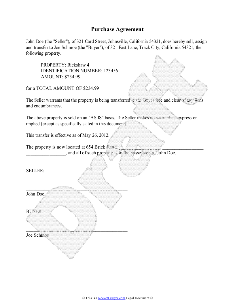 Purchase Agreement Template - Free Purchase Agreement - Free Printable Purchase Agreement Template