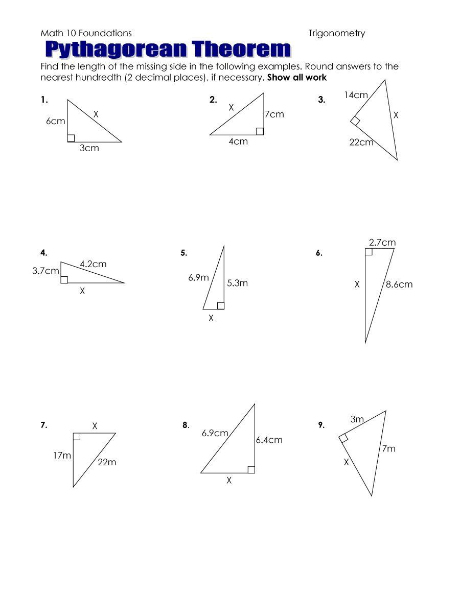 Pythagoras Theorem Worksheet Pdf - 48 Pythagorean Theorem Worksheet - Free Printable Pythagorean Theorem Worksheets