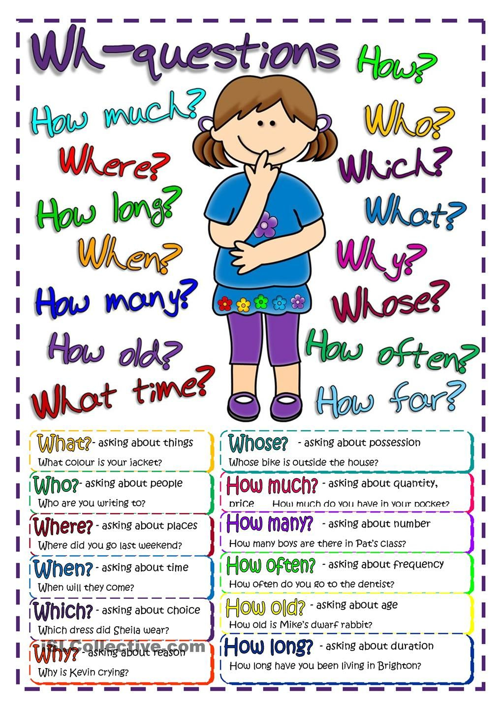 Questions - Poster | Free Esl Worksheets #teaching #english - Free Printable Esl Worksheets